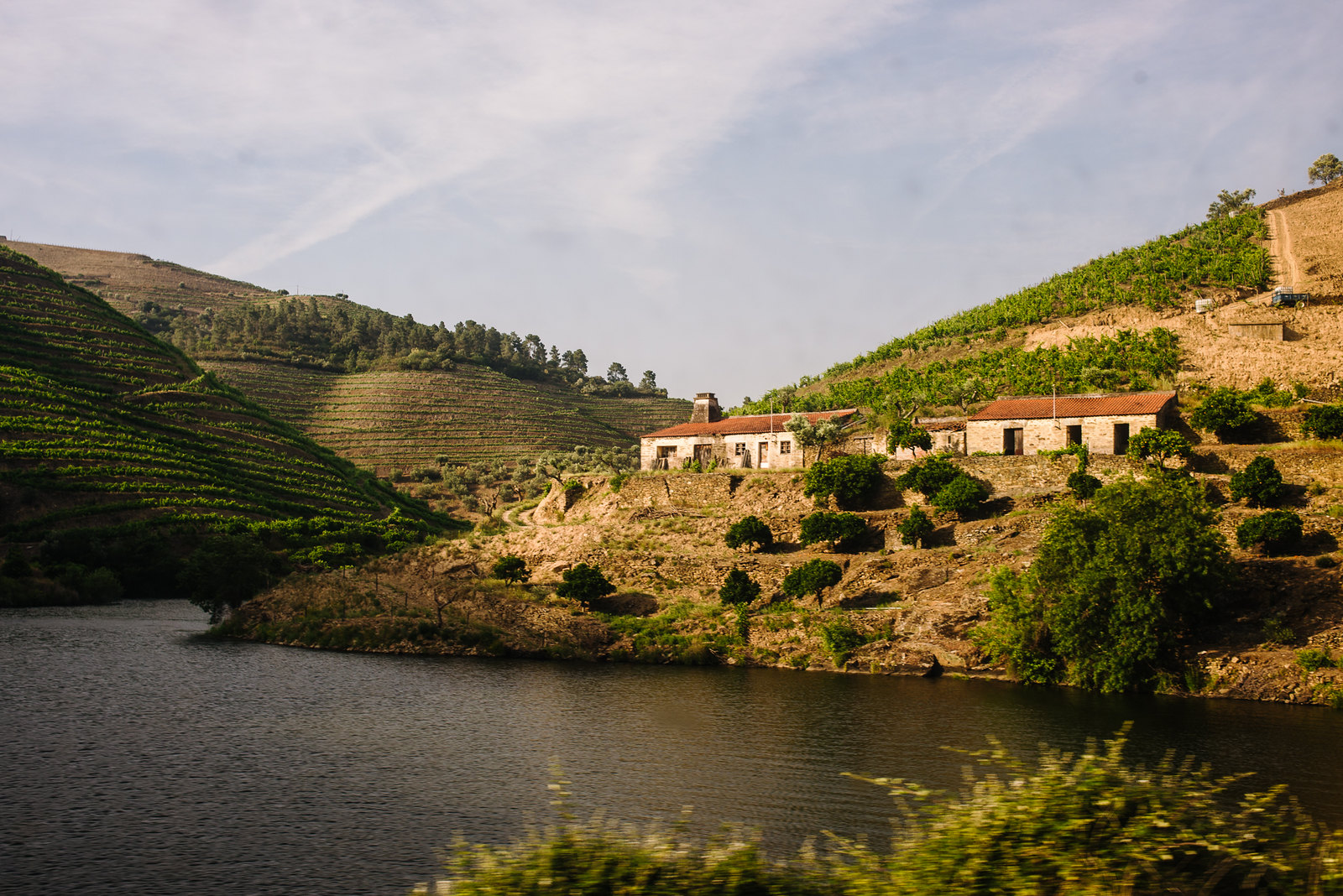 Douro-völgy Portugáliában a lemenő nap fényében