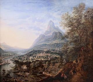 IMG_4004D Jan Griffier 1. 1652-1778. Amsterdam et Londres. Paysage de montagne avec rivière et  voyageurs, au printemps. Landscape of mountain with river and travelers, in the spring. vers 1715. Turin Sabauda.