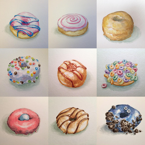 3 more till I have a dozen donuts in watercolor.
