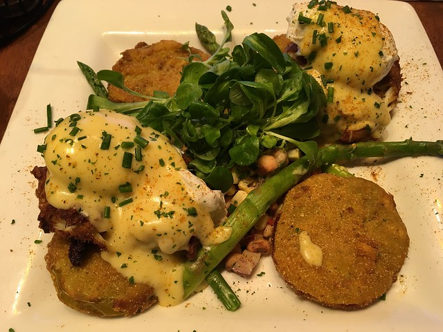 Crab cake and fried green tomato eggs benedict - Miss Shirley's Cafe
