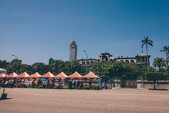 Vendors stalls, mansion, tower