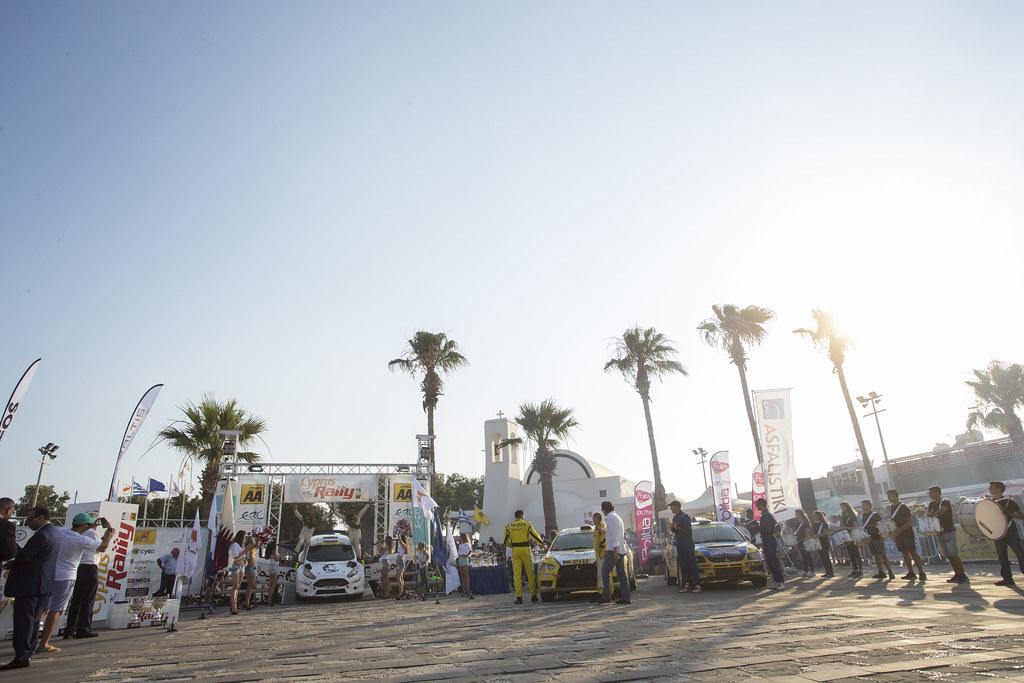 03 AL ATTIYAH Nasser (qat) and BAUMEL Matthieu (fra) NASSER AL-ATTIYAH FORD FIESTA R5  26 GALATARIOTIS Simos Mitsubishi lancer evo x  29 POLYKARPOU Panikos (CYP) podium ambiance during the 2017 European Rally Championship ERC Cyprus Rally,  from june 16 to 18  at Nicosie, Cyprus - Photo Gregory Lenormand / DPPI