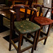 Tall solid wood barstool fabric E80