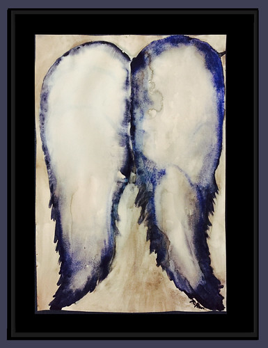 Rebecca Pons, BECCA PONS + CREATIVE, watercolor, fine art, Blue Aura Wings, Wings and Aura, Abstract