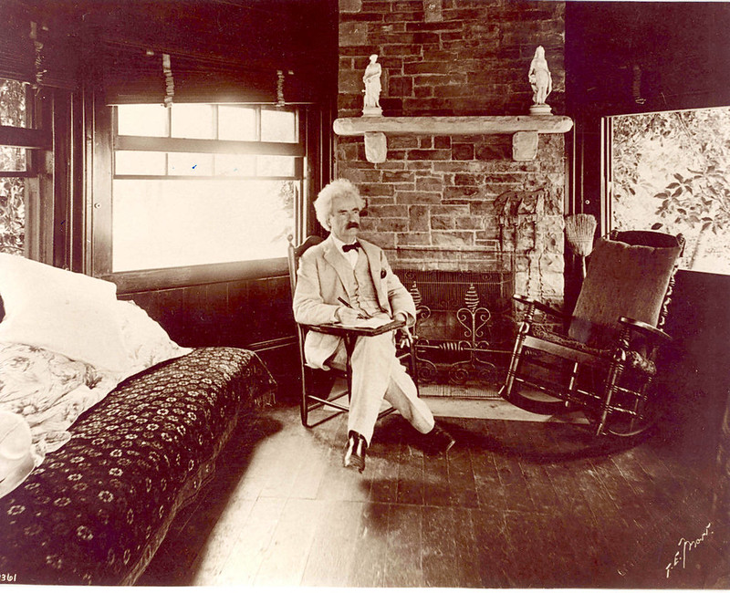 'Drop by any time'. Mark Twain pondering the world