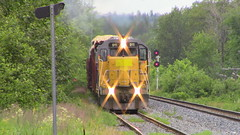 MNR Local at Saint Leonard heading back into Maine