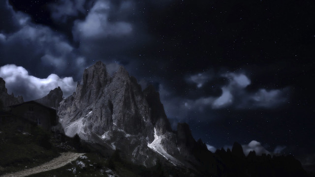 Moonlight on the Dolomites
