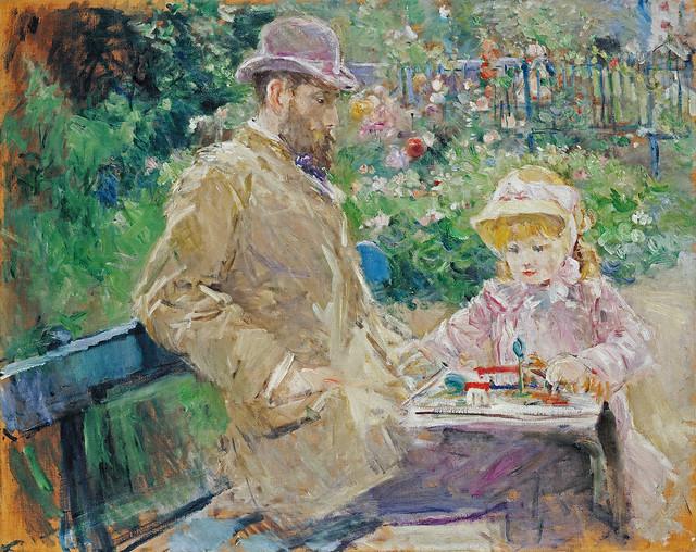 BM 1881 Eugène Manet and his daughter Julie at Bougival 1b fl uhr [1881] - Marmottan - toutelaculture