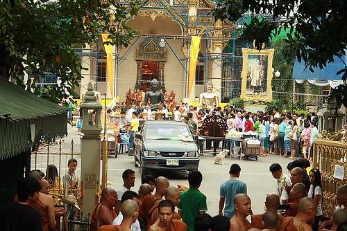 main chapel bot wat prasit mahathat monks buddha images kings portrait buddhist lent bangkhen bangkok thailand birds eye view pickup truck people