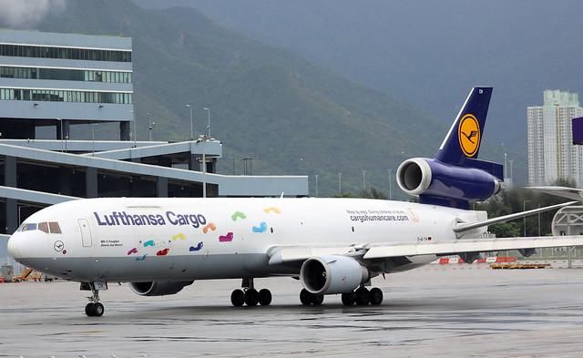 Lufthansa Cargo MD-11F D-ALCH pushing back at HKG/VHHH