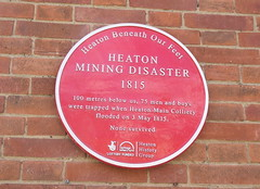 Photo of Heaton Mining Disaster red plaque
