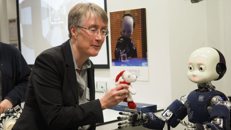 Dr Bryson interacts with a robot