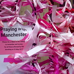 Pink ribbons in Preston in memory of the Manchester bombing (since been removed)