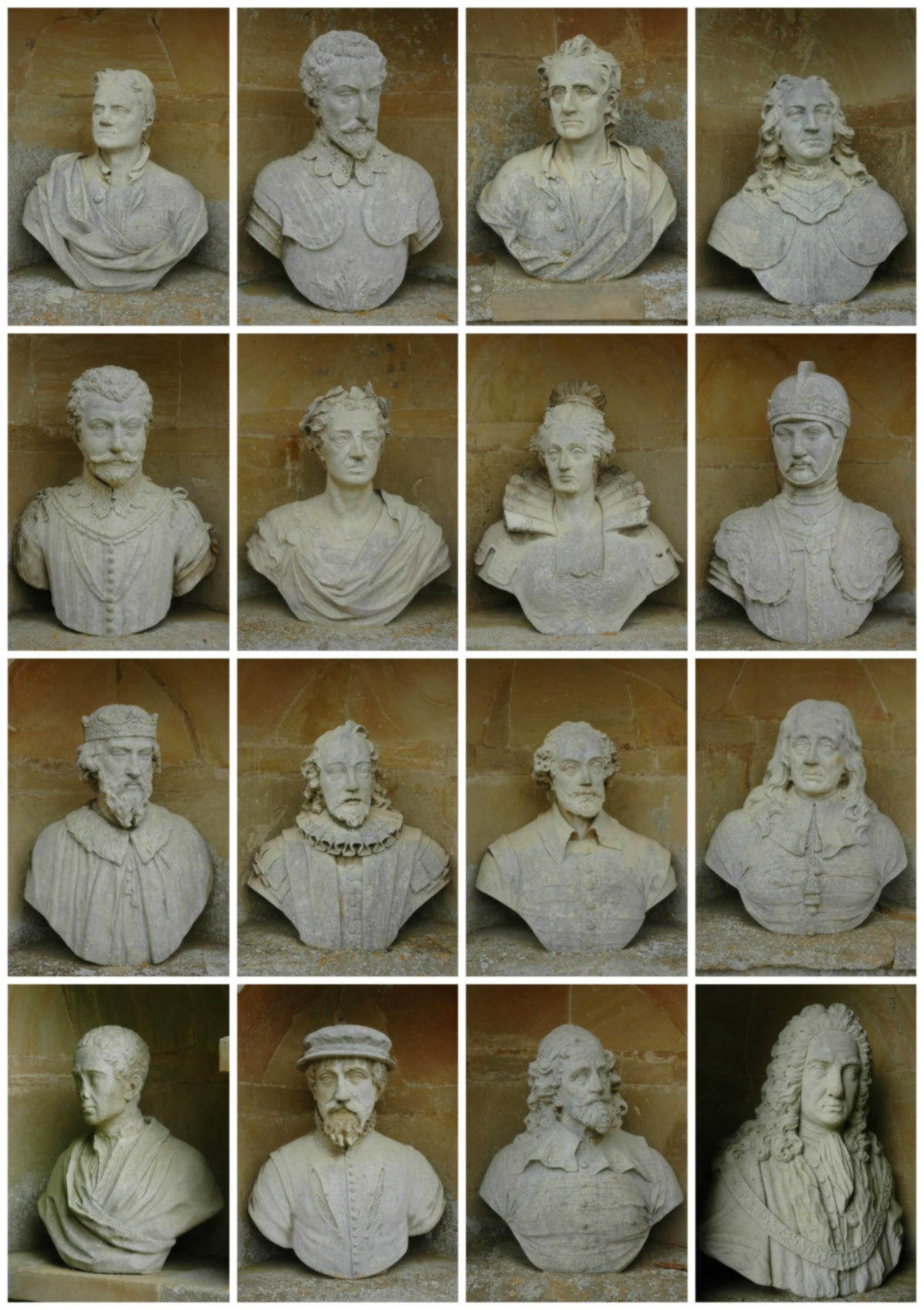 The British Worthies top row: Sir Isaac Newton, Sir Walter Raleigh, John Locke, John Hampden; 2nd row: Sir Francis Drake, King William III, Queen Elizabeth I, The Black Prince; 3rd row: King Alfred, Sir Francis Bacon, William Shakespeare, John Milton; 4th row: Alexander Pope, Sir Thomas Gresham, Inigo Jones, Sir John Barnard