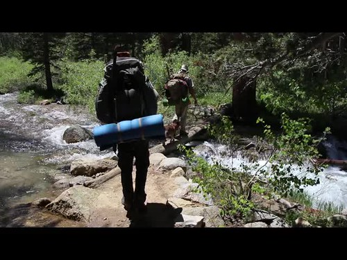 096 Video of crossing a log bridge on the Paiute Pass Trail