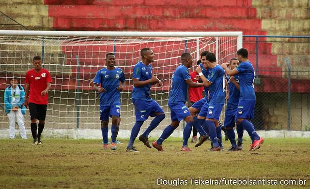 São José E.C. comemora terceiro gol marcado diante do Real Cubatense, em partida válida pelo Campeonato Paulista da Segunda Divisão, vencida pela Águia do Vale por 3 a 2