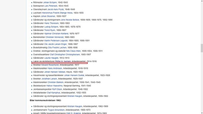 ordfører ikke nevnt på wikipedia