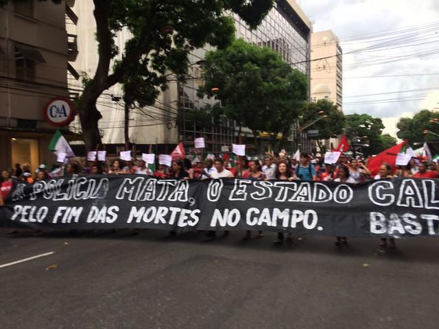 Ato na tarde desta segunda (19) nas ruas de Belém (PA) clama por justiça no caso do massacre de Pau D'Arco - Créditos: Lilian Campelo