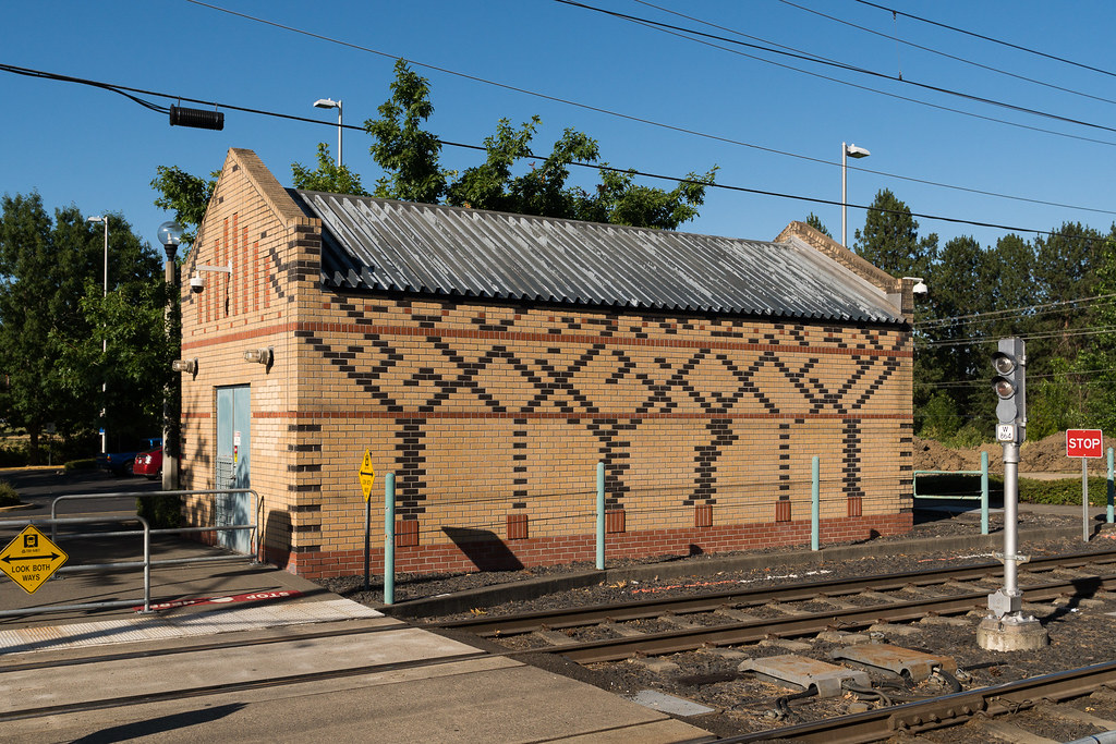 A utility building at the Millikan Way MAX station