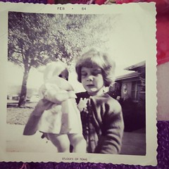 #tbt do we do throw back Thursday anymore, only I found this photo..it of little me..theres no caption on the photo but it appears to be little Kay holding a doll ( loved dolls when I was little) the date on the photo say February of 1964..I'm not sure bu