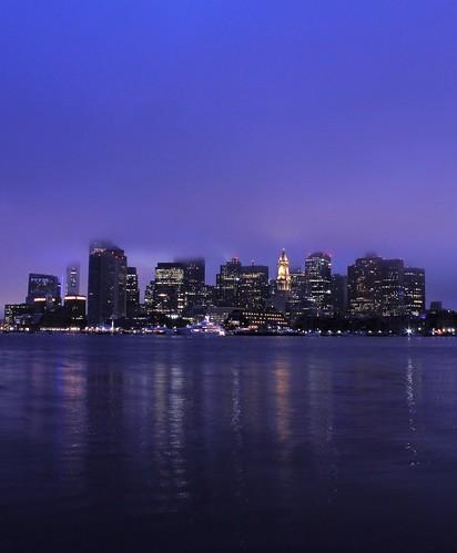 sea landscape night dawn morning sunrise early skyscraper tower building boston ma massachusetts