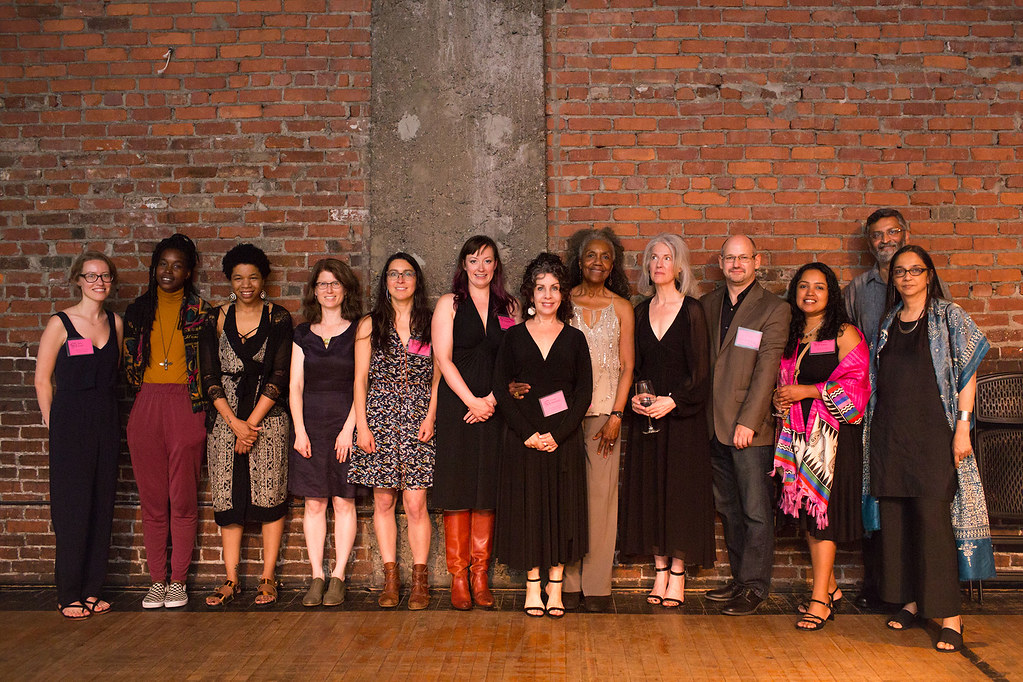 2017 Pew Fellows. From left to right: Ellie Clark of The Pew Center for Arts & Heritage; Came Ayewa; Rasheedah Phillips; Julia Bloch; Nichole Canuso; Annie Wilson; Paula Marincola, Executive Director, The Pew Center for Arts & Heritage; Brenad Dixon Gotts