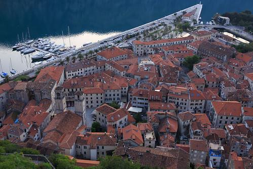 kotor montenegro crnagora balkans city historic roofs evening