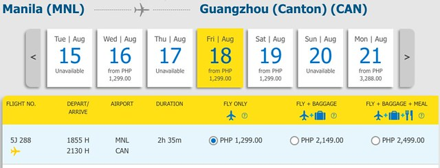 Manila to Guangzhou Promo August 18