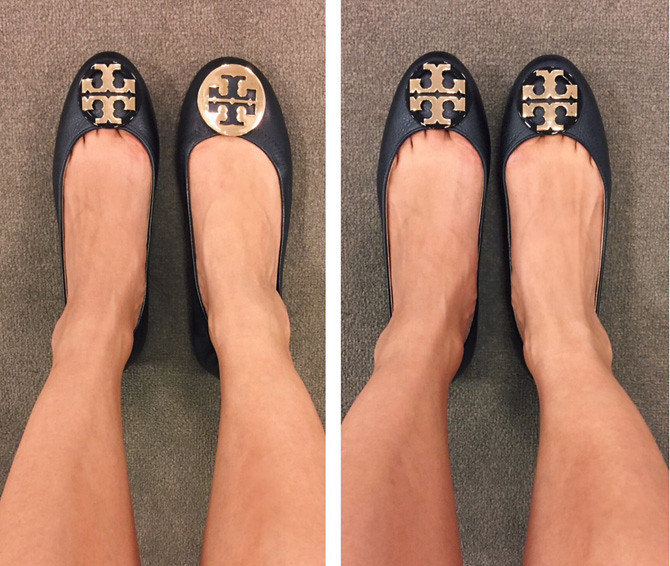 tory burch logo ballet flats claire review