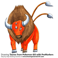 Tauros from Pokemon GO with ProMarkers [Speed Drawing]