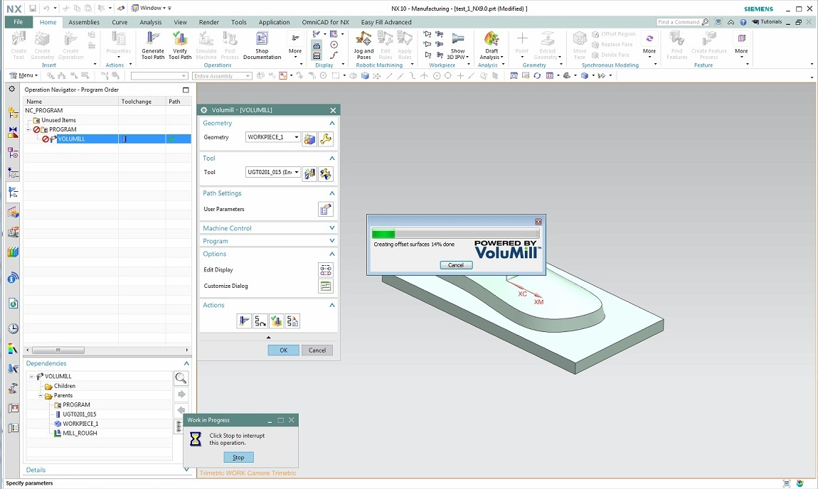 Working with VoluMill V7.2.0.2821 for NX7.5-10.0 Win32 win64