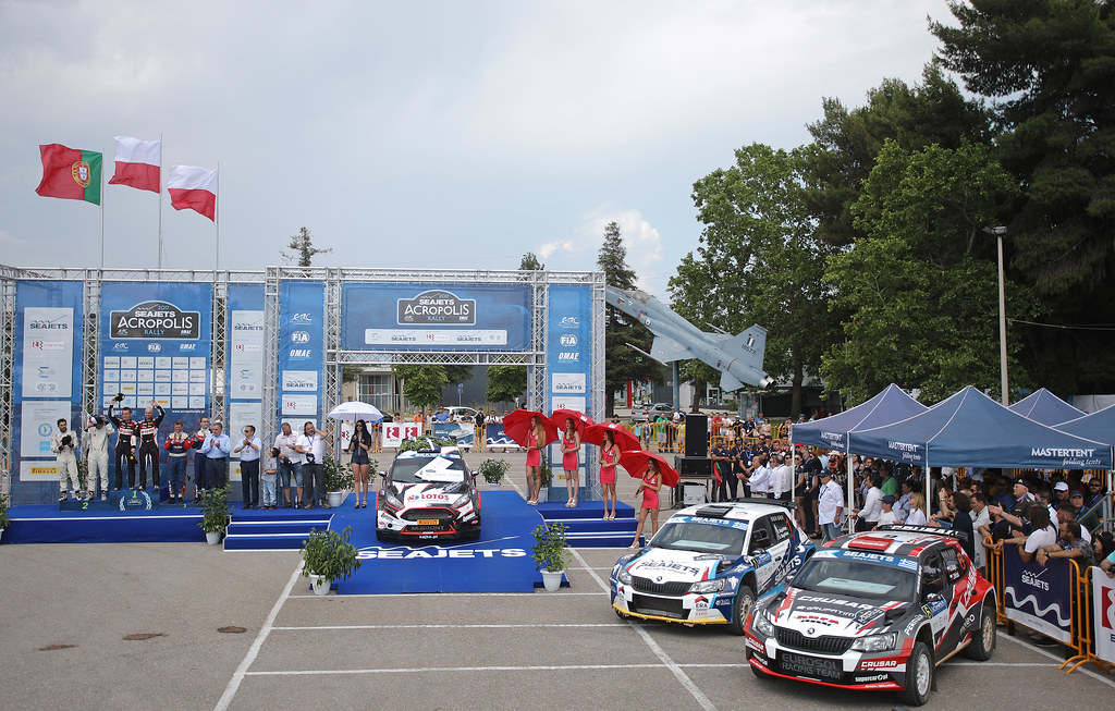 02 KAJETANOWICZ Kajetan (pol) and BARAN Jaroslaw (pol) MAGALHAES Bruno (prt) and MAGALHAES Hugo (prt)  06 GRZYB Grzegorz (pol) and WROBEL Jakub (pol) podium ambianceduring the European Rally Championship 2017 - Acropolis Rally Of Grece - From June 2 to 4 - Photo Gregory Lenormand / DPPI