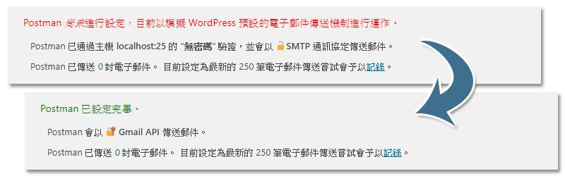 Post SMTP 主畫面訊息
