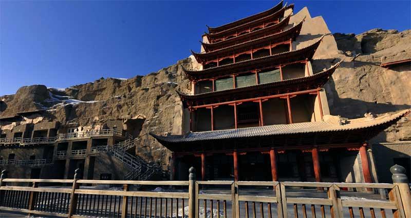 Gua Mogao atau Gua Dunhuang yang juga dikenal sebagai Gua Seribu Buddha di Gansu, Tiongkok.