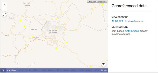 GBIF Map - Adiantum - San Cristobal