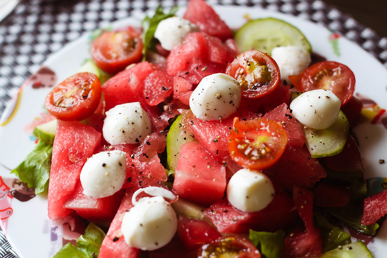 Easy budget SW Slimming World recipe watermelon and mozzarella salad