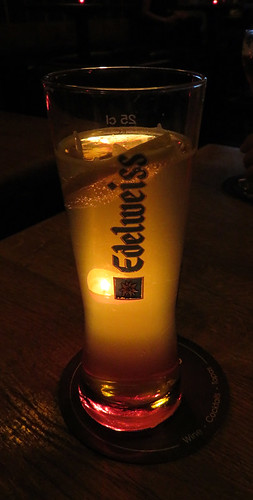 Edelweiss Blanc, a sweet light wheat beer that came with a lemon adding another dimension to the taste