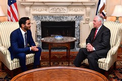 Secretary Tillerson Meets With Qatari Secretary to the Emir for Investments Sheikh Mohammed bin Hamad bin Khalifa Al Thani in Washington