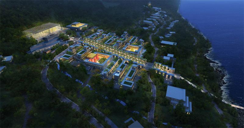 Desain ilustrasi pengembangan kompleks Akademi Buddhisme Nanhai, Provinsi Hainan, Tiongkok, saat malam.