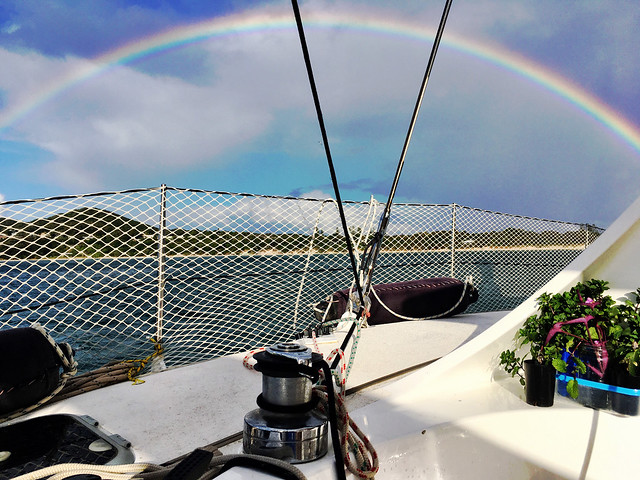 Rainbow. Boat. Mint.