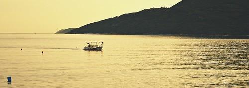 sea morning boat fisherman water summer adriatic hercegnovi crnagora montenegro sunrise camera nikon d3200
