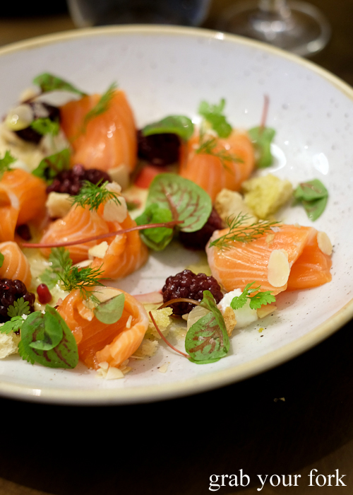Ouzo cured salmon at 1821 Greek restaurant in Sydney