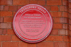 Photo of Douglas railway station red plaque