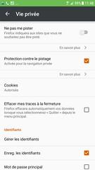 Firefox pour Android : paramètres de vie privée