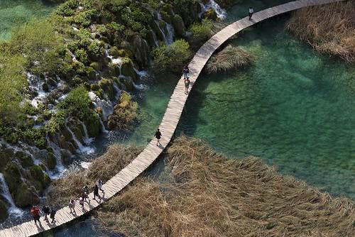 water path trees forest grass waterfall people green landscape outdoor lake river plitvice nationalpark croatia europe travel hrvojesimich gazzda nikon nikond750 nikkor283003556