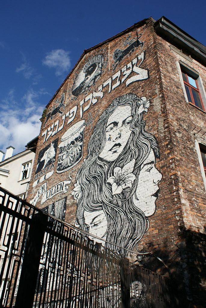 Street art : Mural dans l'ancien quartier juif de Cracovie (Kazimierz).