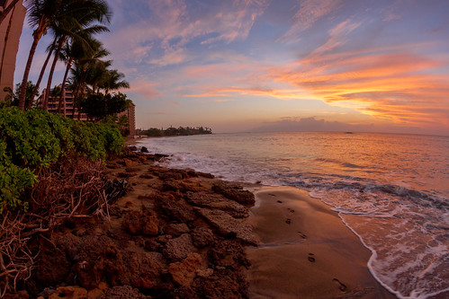 hawaii maui kahana beach ocean sunset palmtree rocks footprints
