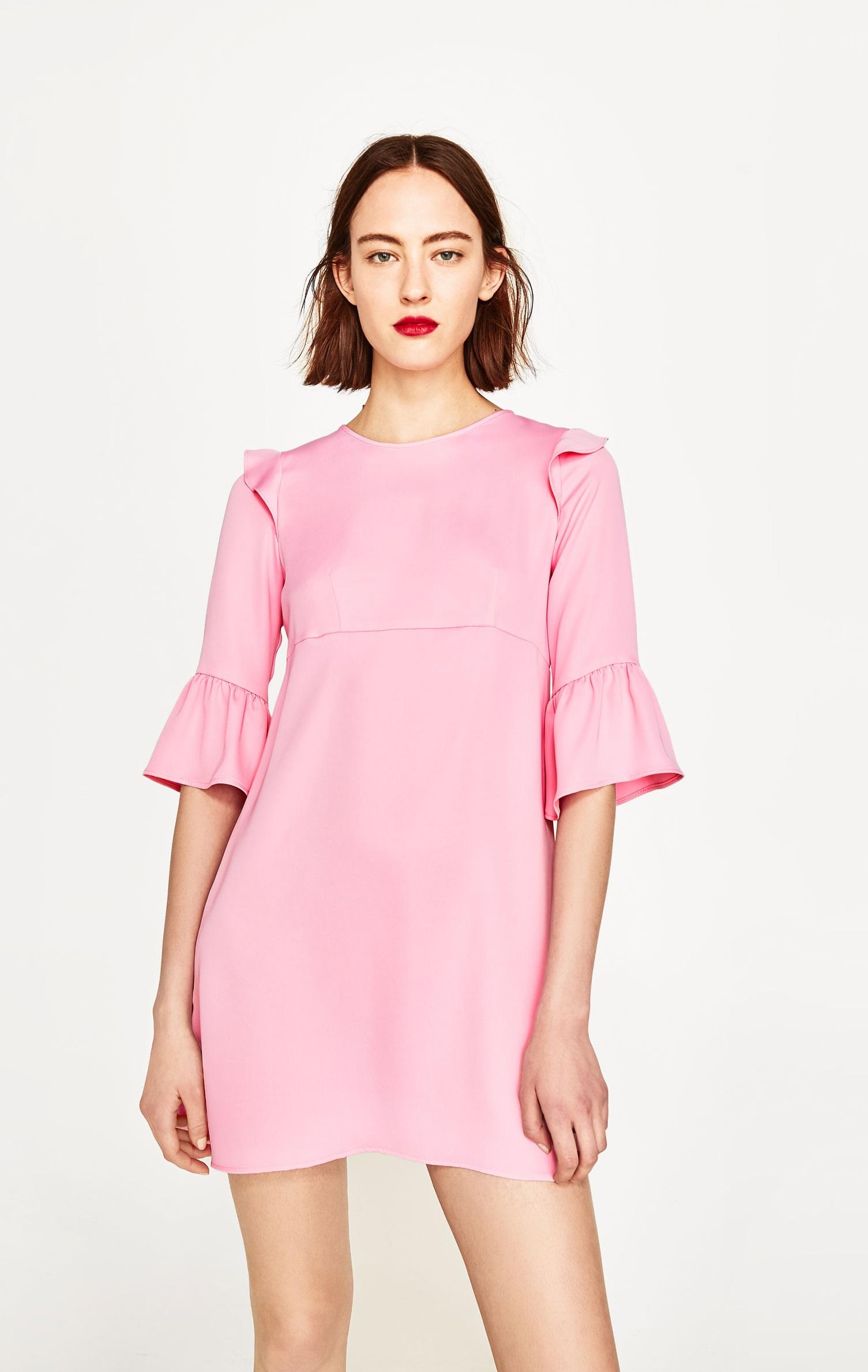 Vestito Zara maniche volant rosa collo coreana