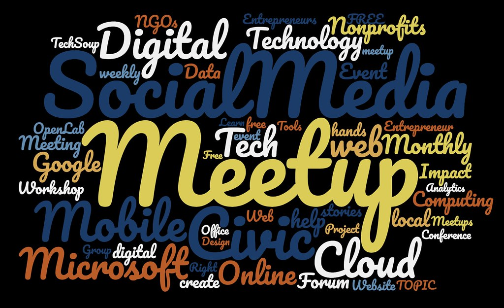 NetSquared topics from meetup wordcloud FY17