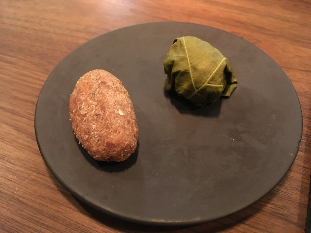 Lamb kibbe and stuffed grape leaf - Pineapple & Pearls